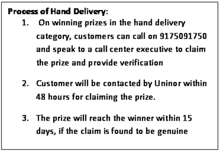 uninor-hand delivery process