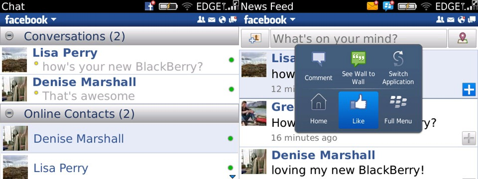 Chat and New Feed on Facebook 2.0 for Blackberry