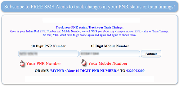 Tip] Get Free SMS Alerts When your IRCTC PNR Status Changes