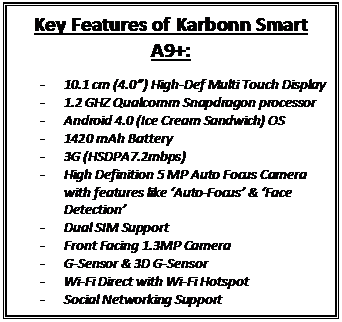 karbonn smart a9+ features specifications