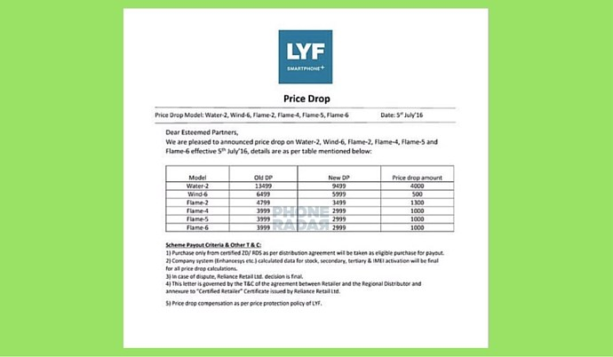 Lyf mobiles revised pricelist